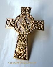 ZP301 Freemason Masonic Celtic Cross lapel pin badge G Geometry Square Compass