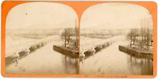 Stereo Suisse, Schweiz, Genève, Pont du Mont Blanc, Ile Rousseau, circa 1870 Vin