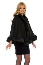 Women's Short Cashmere Cape with Real Fox Trimmed Fur - Black