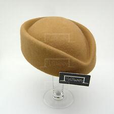 CLASSIC Wool Felt Ladies Pillbox Hat Women DIY FORMAL Party Fascinator   Beige