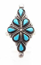 Zuni Sterling Silver Turquoise Petit Point Cluster Ring Size 8.5  Bryant Pablito