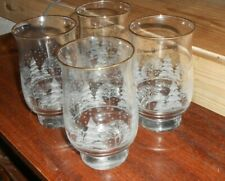 Libbey Winter Frosted Pine Trees tumblers Glasses Arby's drinking glasses