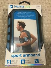 """iHome Fit Sport Armband iPhone 5 5S 5C Galaxy S3 S4 S5 5"""" Smartphones Blue NEW"""