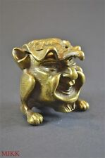 Antique brass mythical creature flip top ashtray head with legs