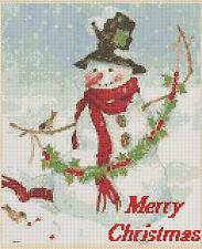 Cross Stitch Chart -Merry Christmas Snowman - No. 243.free uk P&p........