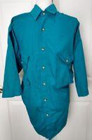 COLUMBIA Mens Radial Sleeve Button Front Shirt Size XL Aqua Blue Fishing Safari