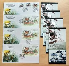2004 Malaysia Traditional Transportation 3v Stamps & 3 Mini-Sheets on 4 FDC