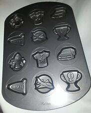 Wilton cookie pan 12 molds team spaceship car plane #1 trophy cup tee shirt #B