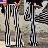 Women Striped High Waist Flare Wide Leg Chic Trousers Bell Bottom Yoga Ksy