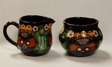 ANTIQUE THOUNE STUDIO KERAMIC POTTERY OWL PITCHER AND BOWL - VASE SWITZERLAND.
