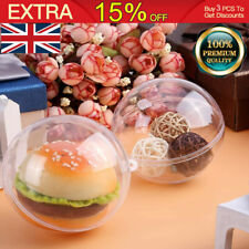 140X Clear Plastic Balls Christmas  Baubles Sphere Fillable Xmas Tree Ornament