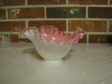 VINTAGE FENTON PINK, WHITE, AND CLEAR RUFFLED CRIMPED ART GLASS BOWL