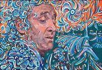 Charles Aznavour singer songwriter on canvas from artist art  portrait painting