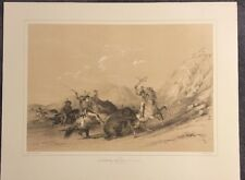 Attacking The Grizzly Bear, George Catlin, Original Lithograph,Limited Edition
