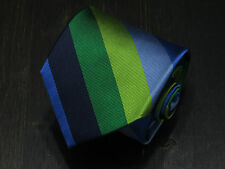 J.Crew All Silk green & blue striped men's neck tie