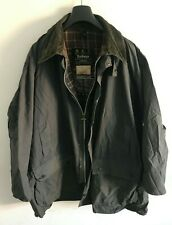 Mens Barbour Border wax jacket Navy Blue / Grey coat 52 in size 2XL / 3XL