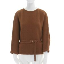 VERONIQUE LEROY brown baby camel wool elbow patch sleeve belted sweater XS