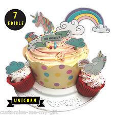 Unicorn rainbow 7 Piece - Edible Pop Top Cupcake Toppers | Cake | decorations