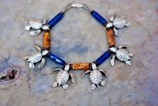 SEA TURTLE Charm BRACELET by Big Blue Antique Silver Blue Beads - Gift Boxed