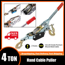 4 Ton 8800lbs Hook Come A Long Winch Hoist Hand Puller Cable Pulling Lever Tool