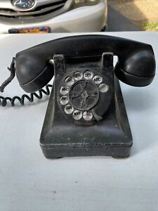 1940s Western Electric Bell Systems F1 Bakelite Rotary Dial Desk Telephone Black