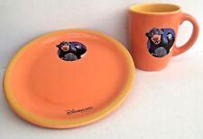 DISNEY LAND PARIS ESSO Orange Promo BALOO Plate & Mug/Cup Set