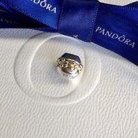 Authentic Genuine Pandora Silver & 14k Gold Two Tone Saturn Flower Charm #790179