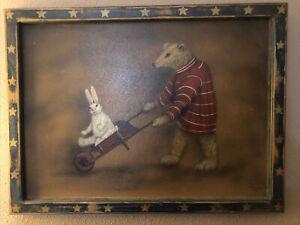 Boardwalk Originals Bonnie Barrett J Buller BEAR & BUNNY Folk Art Painting 28x21