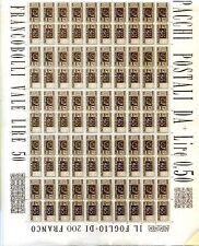 PACCHI POSTALI -  Cent. Ruota foglio intero da 100 pezzi