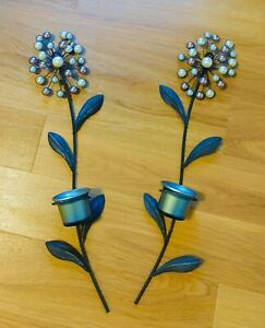 2 x PEARL EFFECT DESIGN GREY METAL WALLART HANGING TEA LIGHT CANDLE HOLDERS