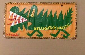 HELLIGATER WALKIN' outsider ABSTRACT folk Visionary art W D HARDEN License plate