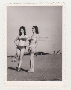 Two Pretty Cute Leggy Young Women Beach Bikini Swimsuit Lady Sexy Female Photo