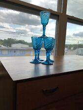 Set of 5 Turquoise Blue Hand Blown Bubble Mexico Wine Glasses VINTAGE