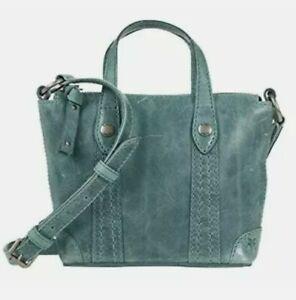 🆕 FRYE Melissa Mini Leather Crossbody Shopper tote Women's Sky blue