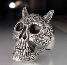 Stainless Horned Celtic devil mask Skull Biker Ring Custom size Voodoo R-85ss