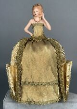 "Antique Bisque Half Doll Pincushion w/ Dress 24k Gold Germany 10"" Tall 29"