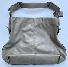 Authentic Coach Peyton Grey Patent Leather Shoulder Hobo Bag