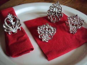8 festliche Serviettenringe Serviettenhalter silberfarbig Metall Tischdekoration