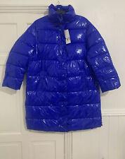 Zara Aw19 Long Blue Puffer Vinyl Shiny Padded Coat Jacket Oversized Size M