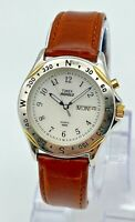 Men's Vintage 1996 TIMEX Two-Tone Classic Day/Date Compass Bezel Watch, Indiglo