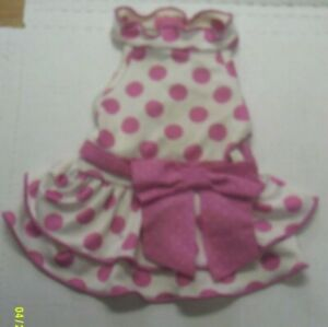 Lulupink Outfit, White With Large Pink Polka Dots and Pink Trim, Size XS