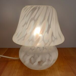 Vintage Retro Murano Style DAR Lighting Small White Frosted Glass Mushroom Lamp