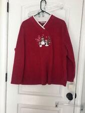Croft & Barrow Women's Fleece Holiday Shirt Sz 1X Christmas MultiColor Top