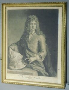 Antique Original 1690 Mezzotint Portrait Grinling Gibbons Kneller Smith AS IS