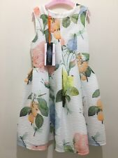 New Girls Designer Ted Baker Off White Floral Rose Textured Party Dress 4-5yrs🎀