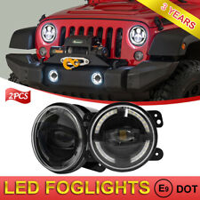 "Pair 4"" LED Fog Lights with Halo Angel  Eye for Jeep Wrangler Renegade Liberty"