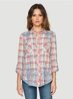 NEW 3J Workshop Johnny Was Harley Smock Plaid Button Down Shirt Blouse Top S