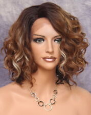 Short Auburn Chestnut Blonde Wig Perfect open Curls Lace Front KRN som7003