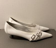 Steve Madden Klarisa White Kitten Heels with Buckles Size 6