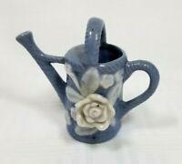 "Vintage Porcelain Mini Miniature Blue Watering Can 2.5""h"